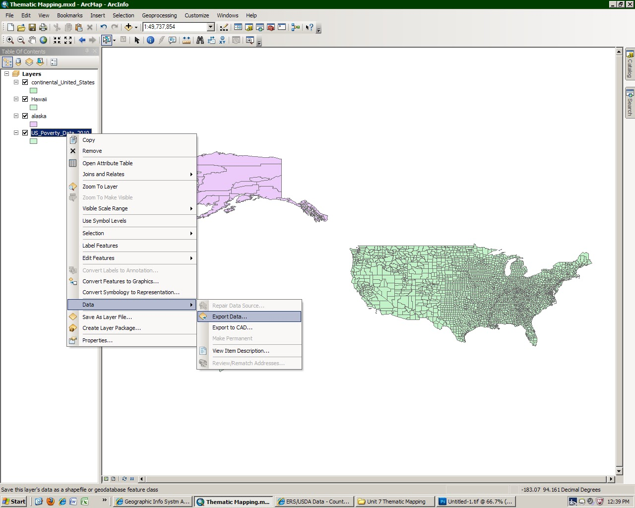 the next step was to set the spatial reference of the us county shape file to usa contiguous albers equal area conic projection the alaska shape file to