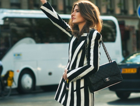 black white outfit, striped jacket, stripe jacket, fashion week, streetstyle