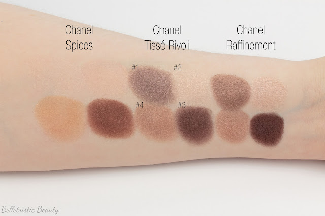 Chanel Tissé Rivoli 226 Les 4 Ombres Multi-Effect Quad swatch comparison, Summer 2014, Collection in studio lighting