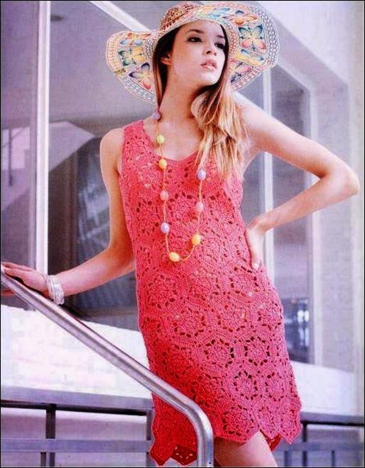 Vestido de Moda en hexágonos / patrones crochet DIY | Crochet y Dos ...