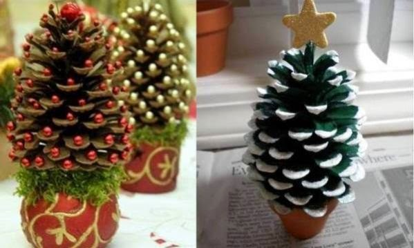Christmas trees from pinecone