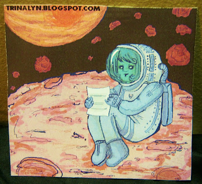 space woman letter better than ezra sticker original art