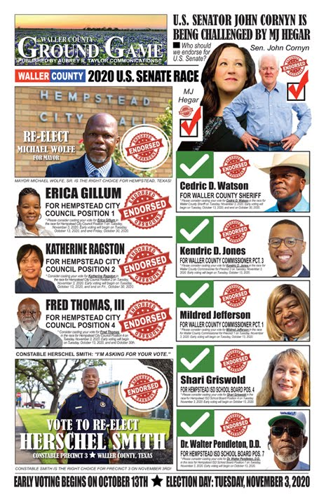 Focus on Waller County, Texas -- Election Day is Tuesday, November 3, 2020 in the Lone Star State