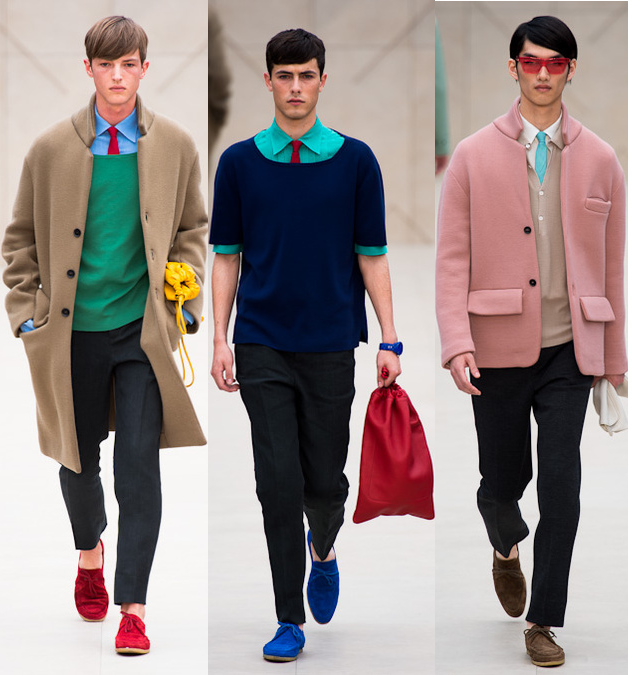 burberry prorsum spring 2014 mens colored coats