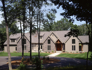 This custom timber frame home is located in Connecticut