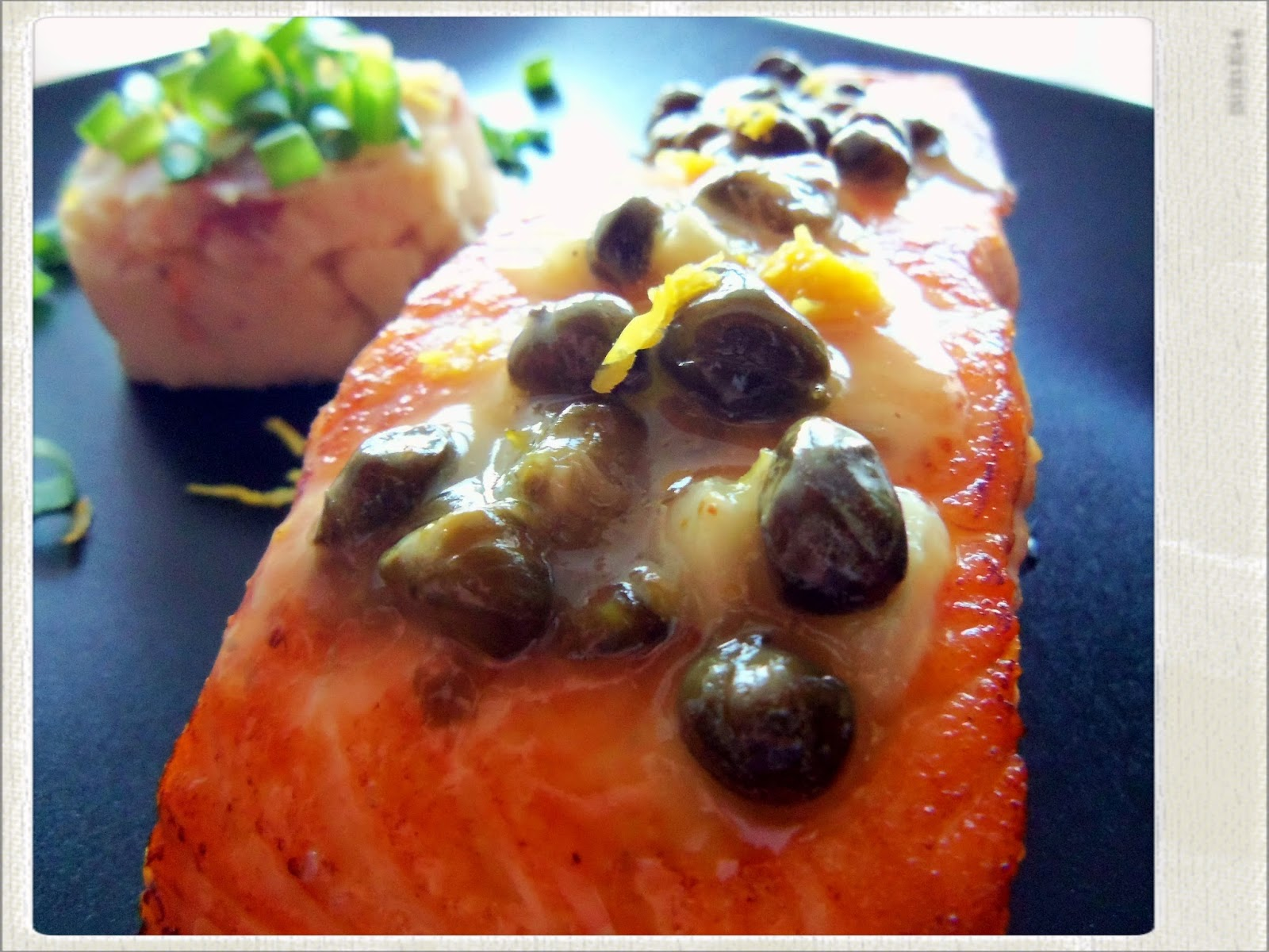... Salmon, Potato and Sun Dried Tomato Puree and a Lemon and Caper Sauce