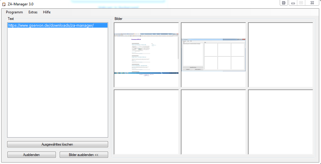 "Screenshot Programm ""ZA-Manager"""