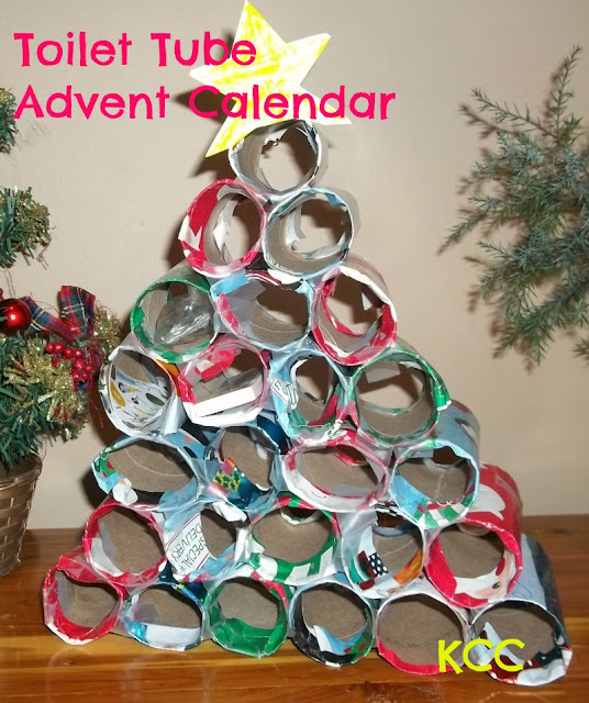 How to make an Advent Calendar from recycled cardboard tubes and wrapping paper