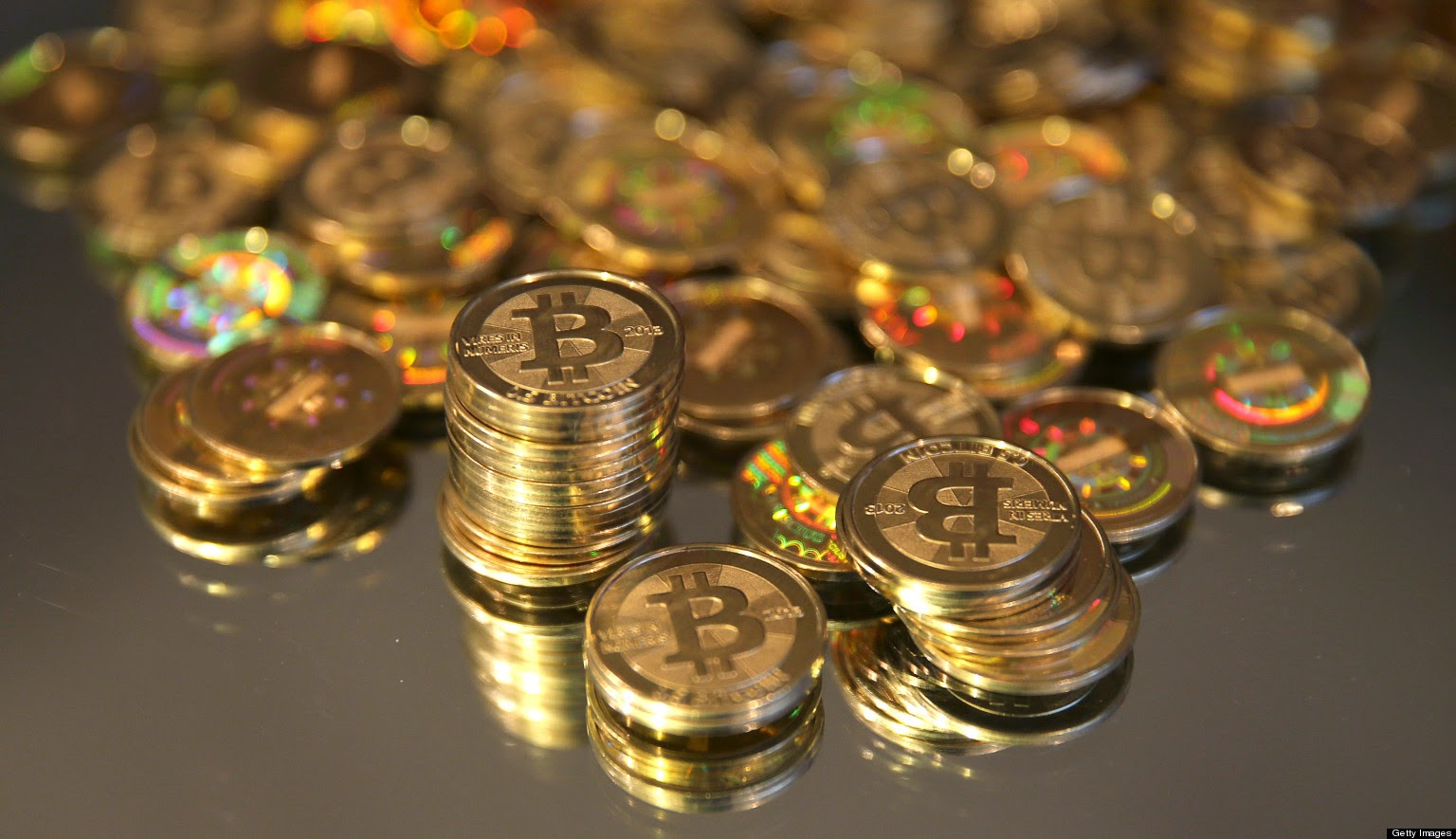 Some bitcoins, one of the internet virtual coins