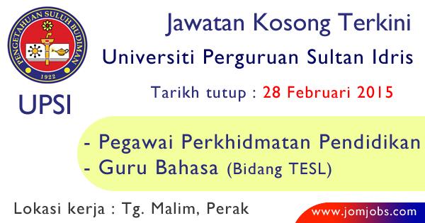 Jawatan Kosong Akademik UPSI 2015 Terkini