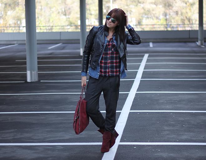 outfit trend fashionblogger herbstoutfit winteroutfit tartan kariert bershka jeansbluse hm lederjacke baggyhose zara supertrash boots bordeaux tasche falabella 07