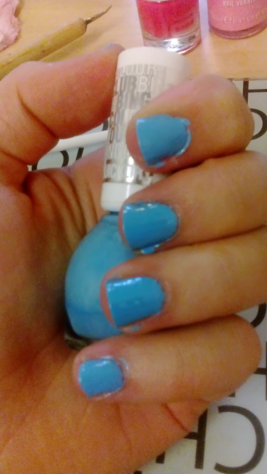 Painted Blue Nails