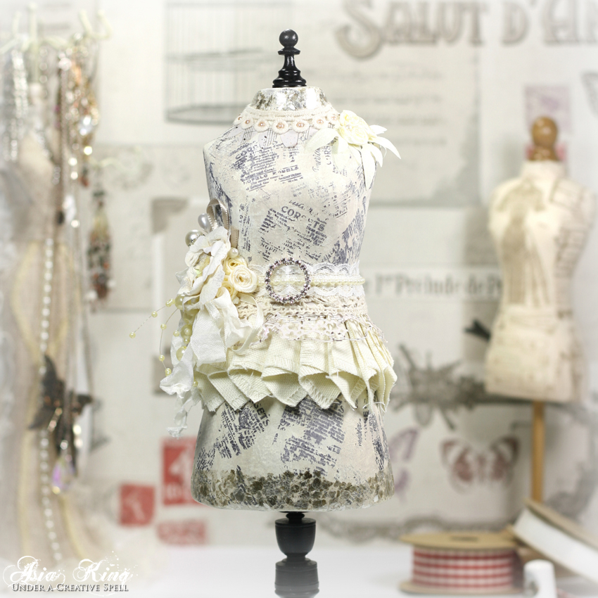 Altered shabby chic papier mache dress form