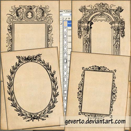 vintage frames, frames, ornate frames, ornaments, free brushes, vectors free, free vectors