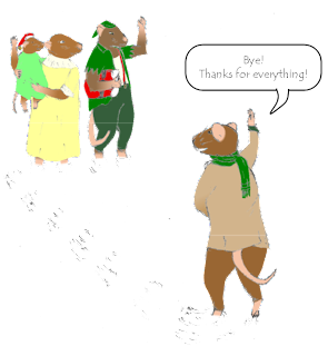 "Frank the mouse waves, ""Bye! Thanks for everything!"" to the rat with suspenders, the mother rat, and her little daughter, who waves back from her mother's arms. The rat with suspenders, still dressed in his Christmas-green, jagged jacket and floppy hat, waves back; holding the red fluff-lined coat and trousers Frank had, folded neatly under his arm. Frank is now wearing his traditional blue jacket, and over it, a heavy beige coat, with army-green lapels, and a scarf. He is holding his right foot slightly raised, out of the snow."