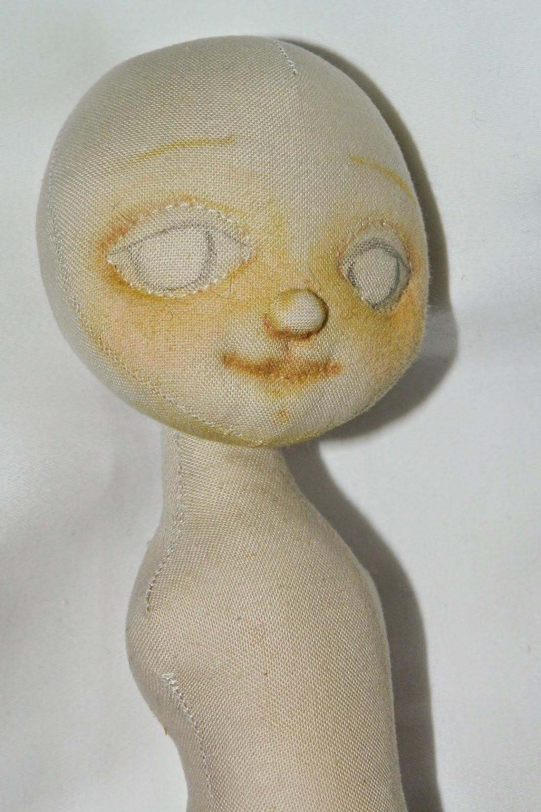 тонировка лица текстильной куклы