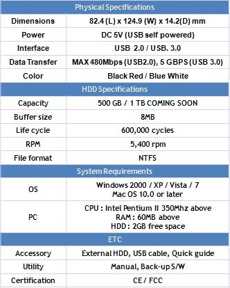 spesifikasi hard disk LG XD5