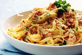 Picture of Spaghetti Alla Carbonara on a white serving bowl and parsley