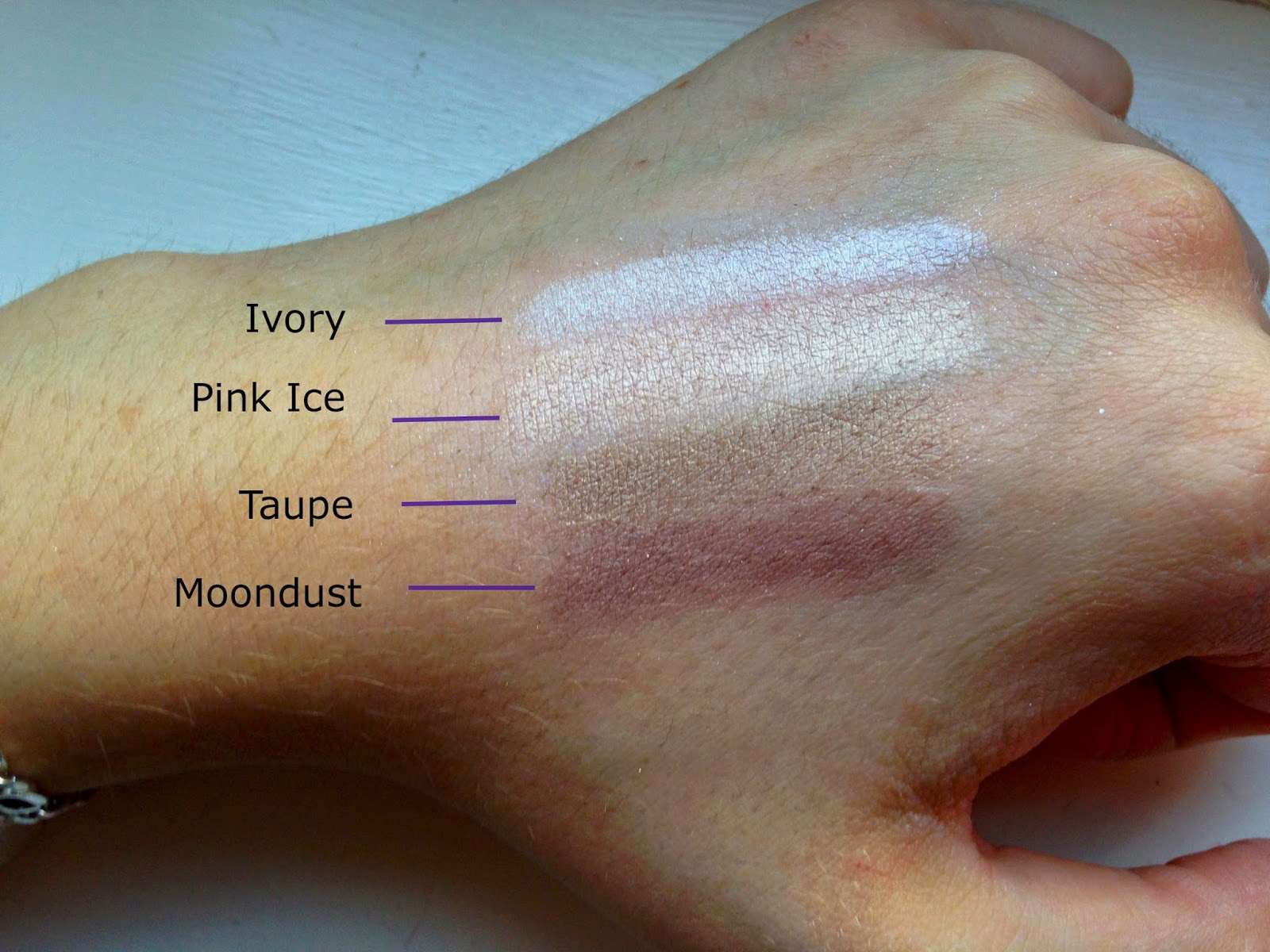 ELF Custom Eye Palettes Moondust Taupe Pink Ice Ivory Swatches