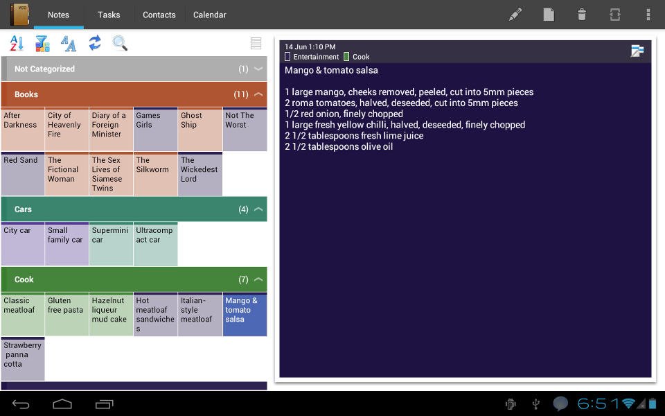 Android Notes Grouped by Categories in Grid Mode in Tablet