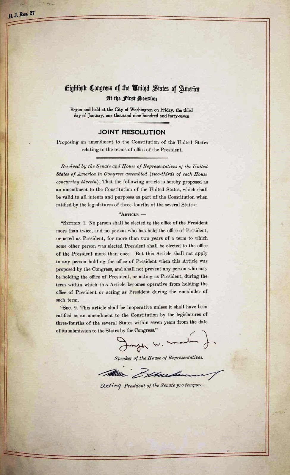 22nd amendments Amendment i freedom of religion, speech, press, assembly, and petition passed by congress september 25, 1789 ratified december 15, 1791 the first 10 amendments.