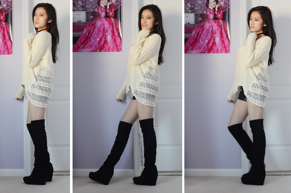 More photos of the Romwe lace trim knit baggy sweater, paired with a 90s grunge choker, over-the-knee suede boots, and leather shorts.