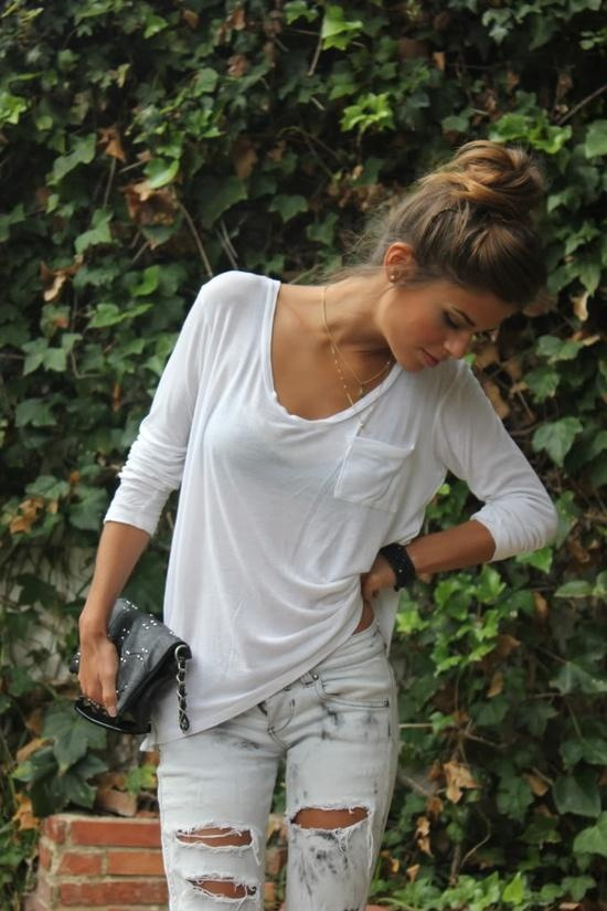White shirt, black purse and light grey jeans for ladies Fun and ...