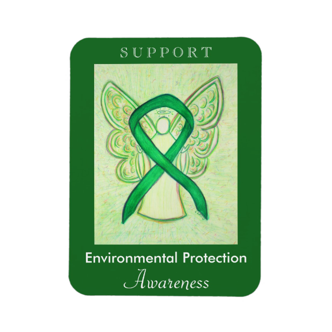 Support Environmental Protection Awareness Ribbon Green Angel Art Gift Kitchen Magnets