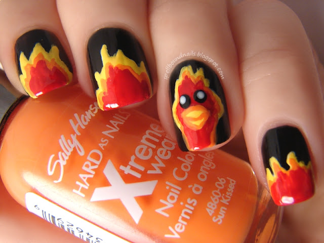 nails nailart nail art polish mani manicure Spellbound ABC Challenge P is for Phoenix Harry Potter Fawkes flames red yellow orange black Wet n Wild I red a good book Sally Hansen Sun Kissed Lightening white L.A. Colors fire