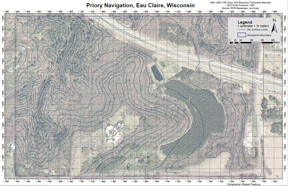 navigation map using the nad 1983 utm zone 15n wisconsin transverse mercator coordinate system with a utm grid