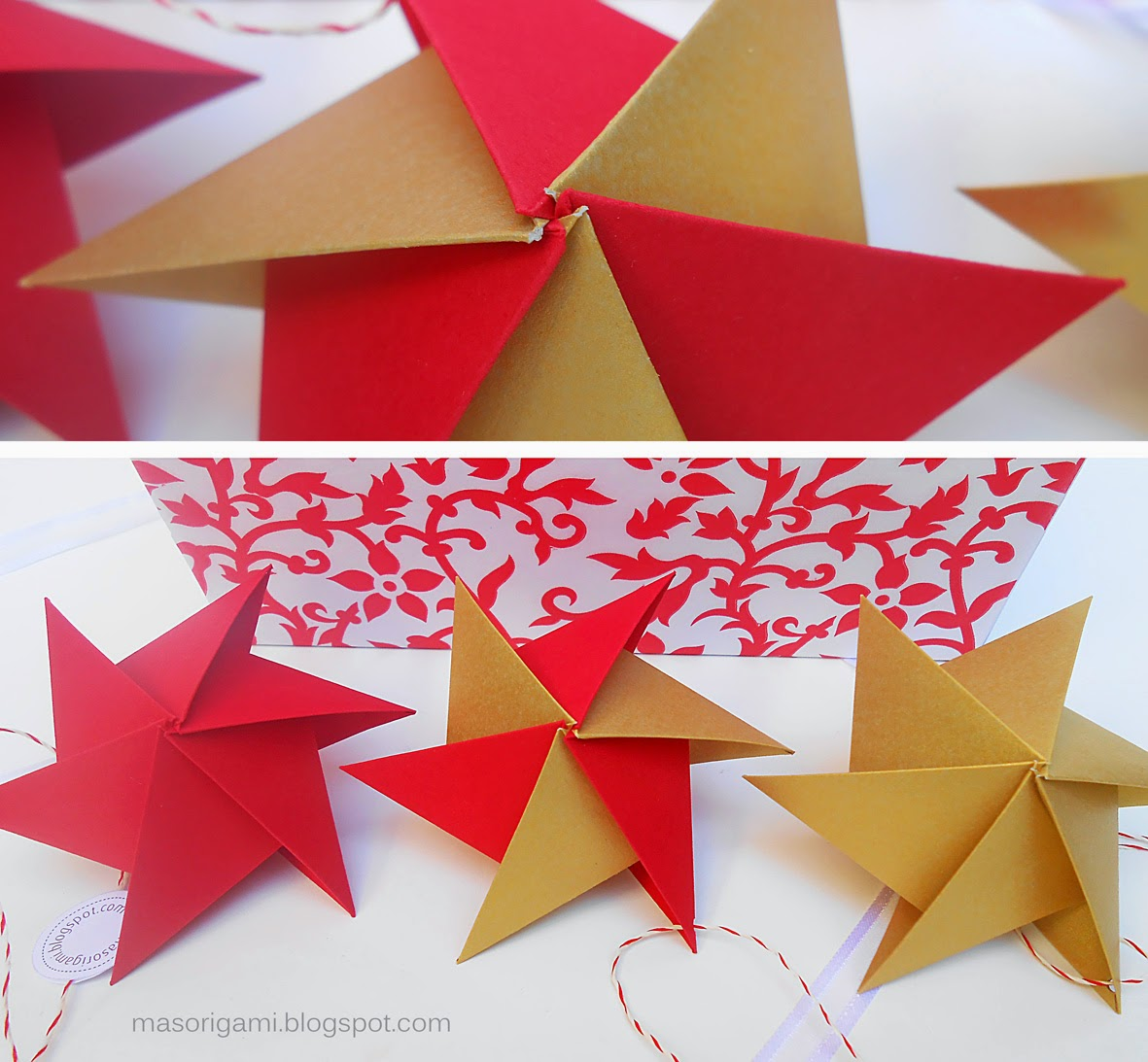 Mas origami pensar la navidad en origami septima star - Origami de una estrella ...
