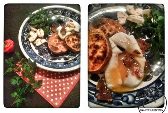 Pieczone Bataty z jajkiem w koszulce, masłem czosnkowym z odrobiną habbanero i chipsami z wędzonego podgardla