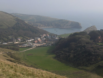 Looking down at Lulworth Cove Dorset