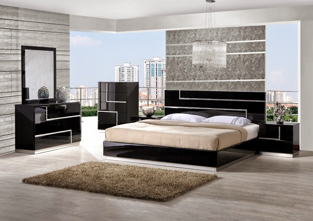 Color Schemes for Contemporary Bedrooms with Black Furniture