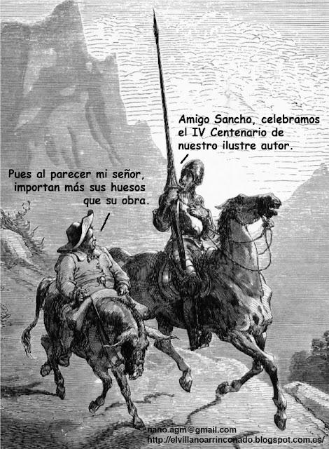 el villano arrinconado, humor, chistes, reir, satira, Cervantes, IV centenario, El Quijote