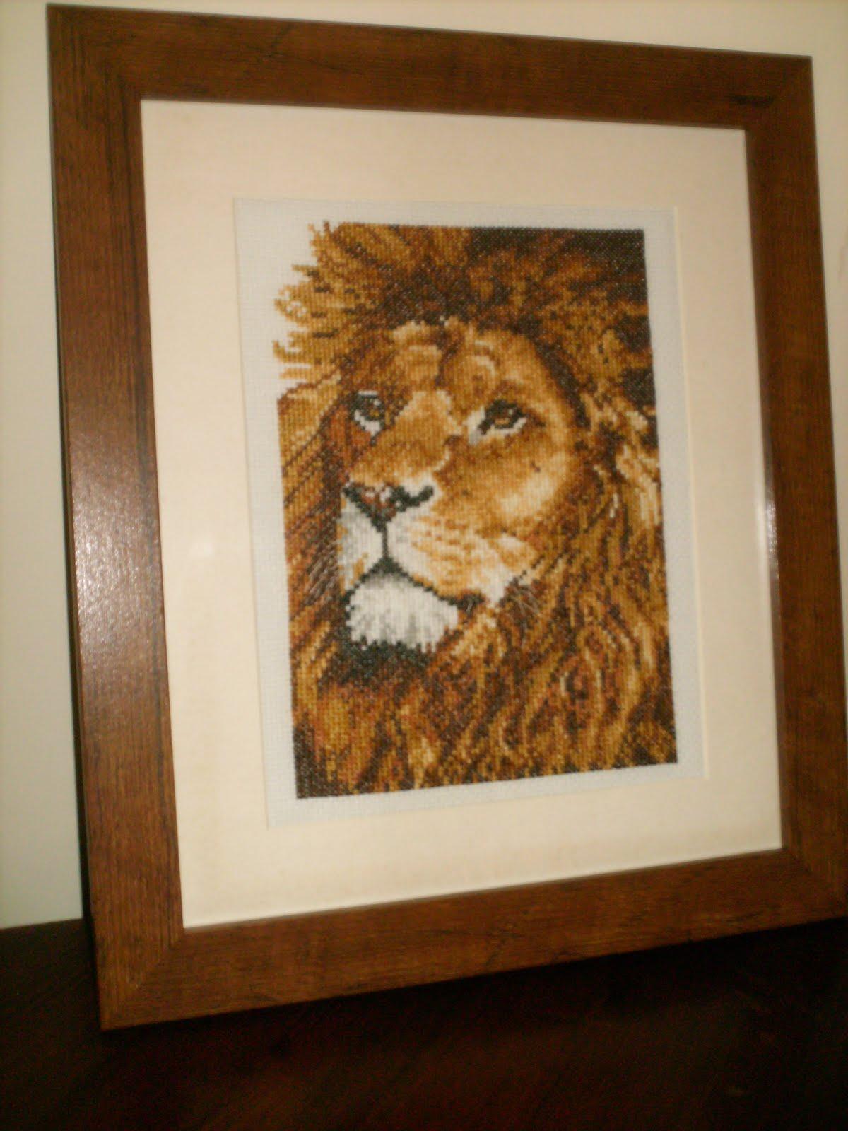 cross stitch a to z update lion king finished. Black Bedroom Furniture Sets. Home Design Ideas