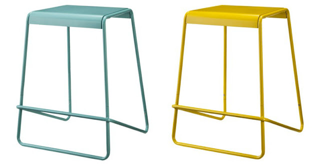 aqua and yellow counter stool  TOO by blue Dot Plop