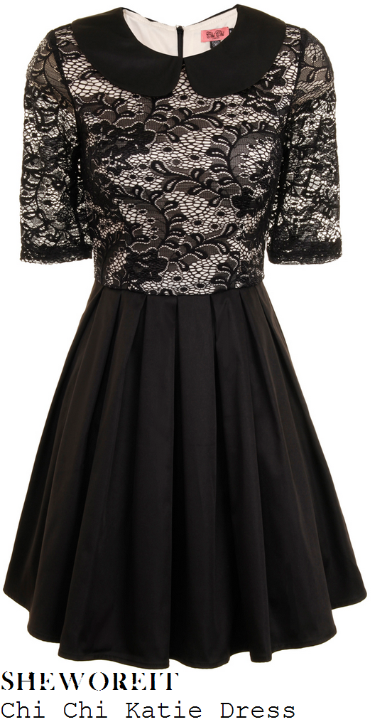 abi-alton-black-lace-peter-pan-collar-half-sleeve-pleated-skater-dress-x-factor-big-band-week-results-show