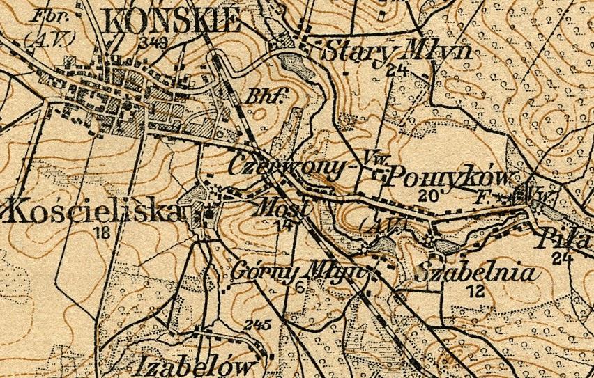 Kościeliska k. Końskich na niemieckiej mapie z 1915 r. Zaznaczone jest koło wodne (młyn), kościół i budynki mieszkalme - 15.
