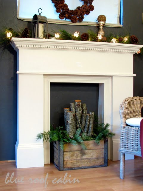 blue roof cabin diy mantel
