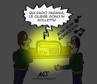 Radio padania, debiti, satira vignetta