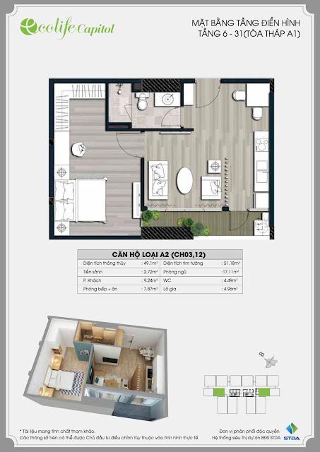 Thiết kế căn 49m Ecolife Capitol