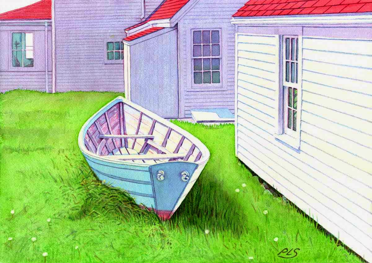 "Monhegan Museum Boat - Watercolor 14"" x 20"""