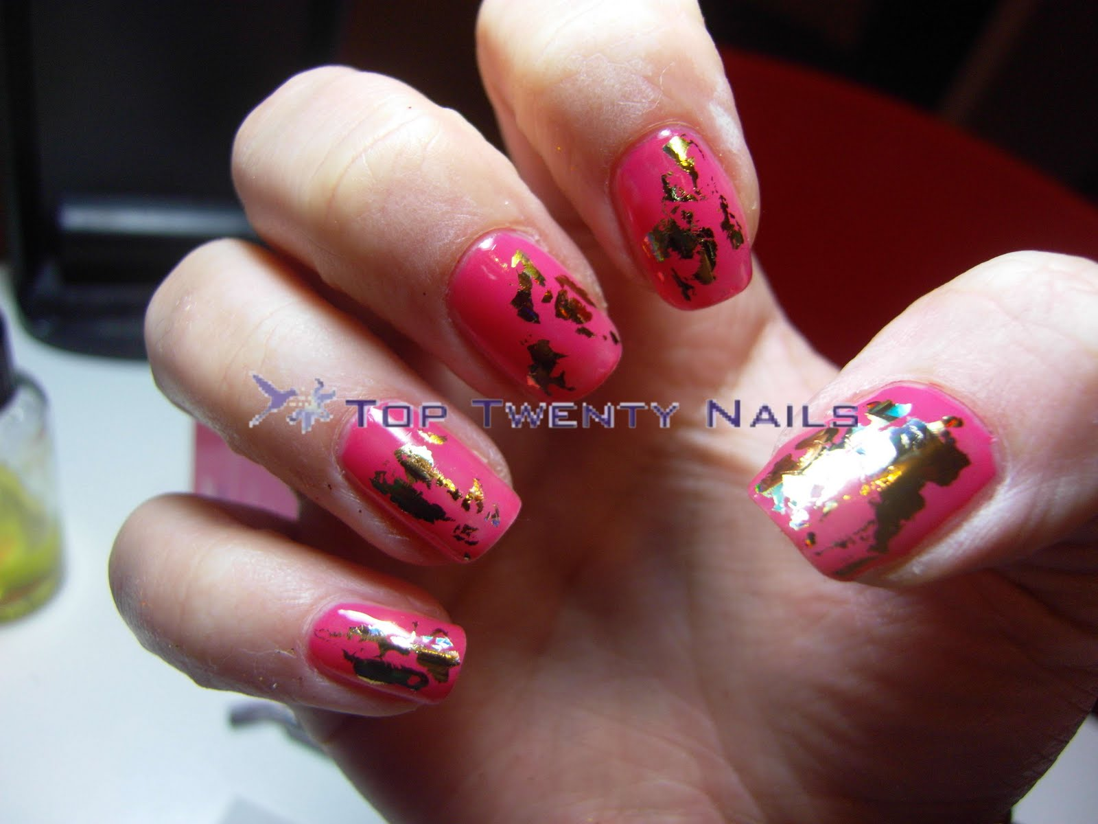 Toptwentynails Shellac Rockstar Nails With Gold Foil Shatter Effect