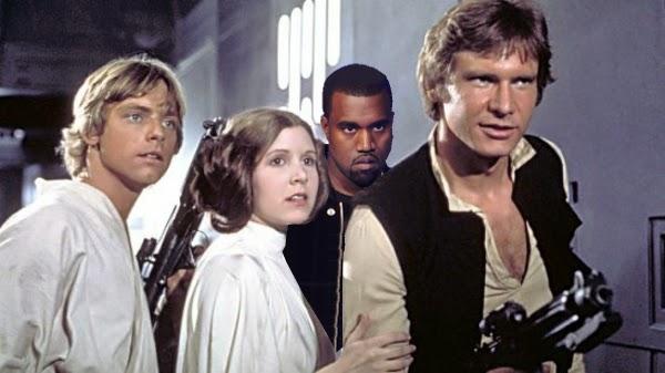 Kanye West photobombs Star Wars