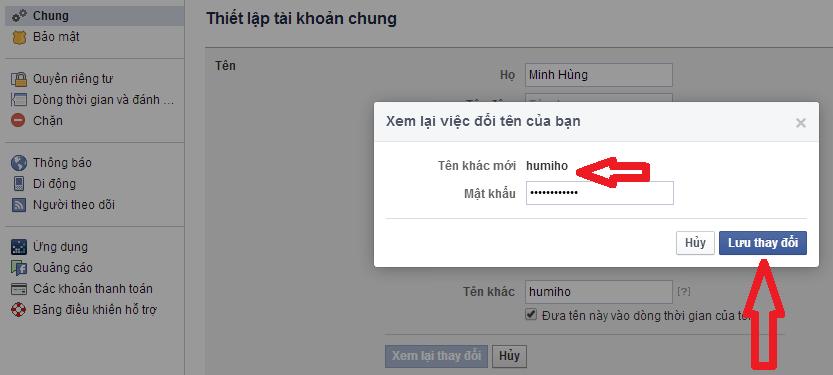 đổi tên facebook 3