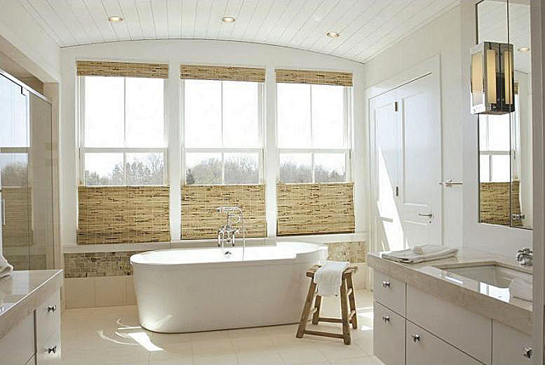 Kate Jackson Design   Hunter Douglas Woven Bamboo Roman Shades