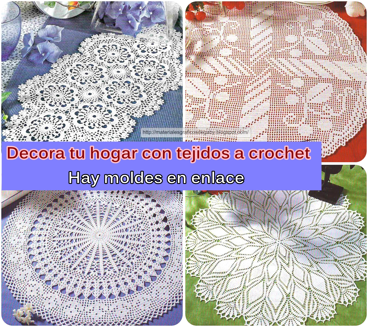 Materiales gráficos Gaby: Patrones de carpetas en crochet