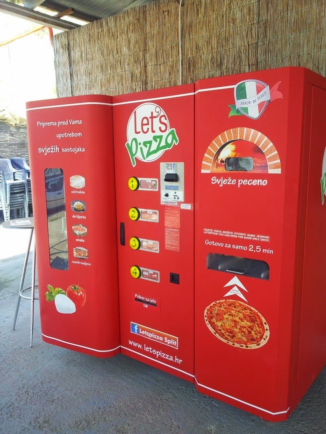 Fresh pizza vending machines.