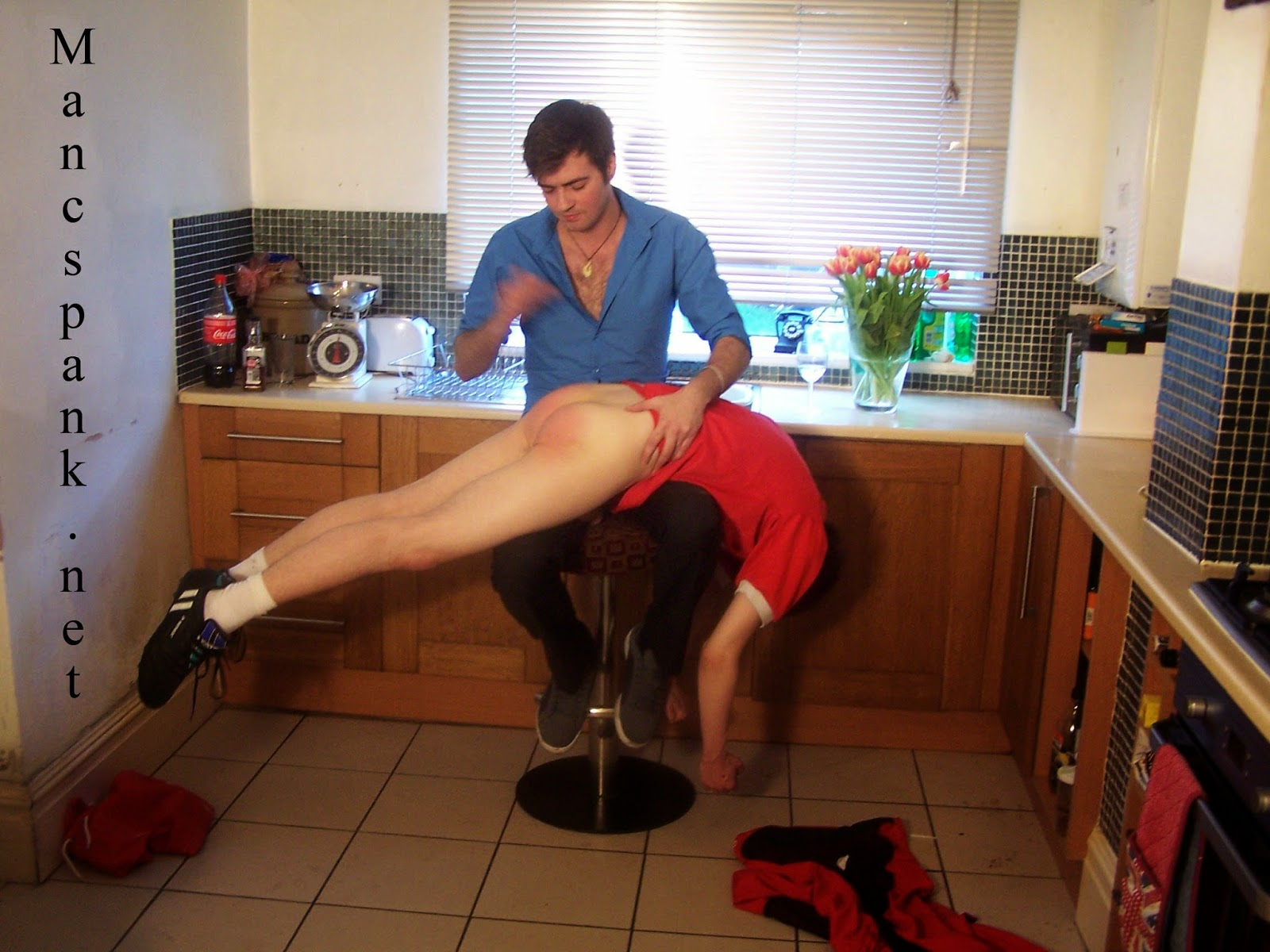 Strap leather spanked a with